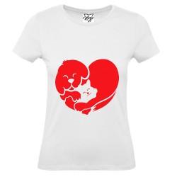 T-Shirt Donna cuoe cane e gatto