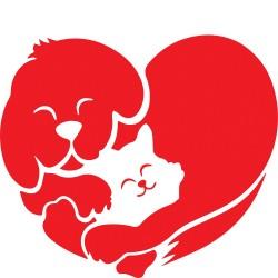 T-Shirt Donna cuore cane e gatto