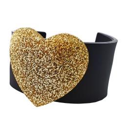 Bracciale rigido cuore oro
