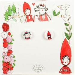 Mini-Orecchini a lobo Cappuccetto Rosso