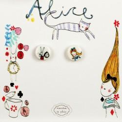 Orecchini a lobo Alice nel Paese d....
