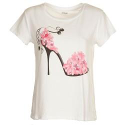 T-Shirt pump fiori rosa e perle