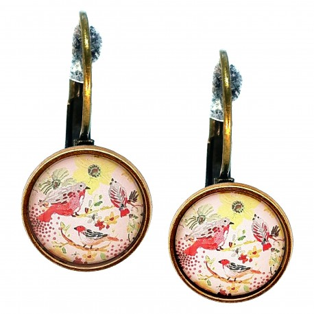 Orecchini a sfera Uccellini giallo rosa
