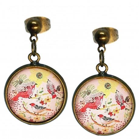 Orecchini a sfera Uccellini giallo e rosso