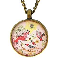 Collana 20mm Uccellini giallo rosa