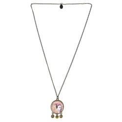 Collana 25mm charms Fiore rosa