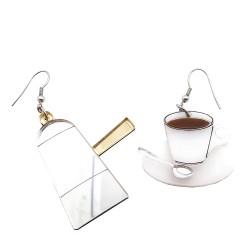Orecchini asimmetrici Carmencita caffè
