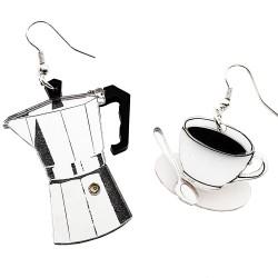 Orecchini asimmetrici Moka caffè
