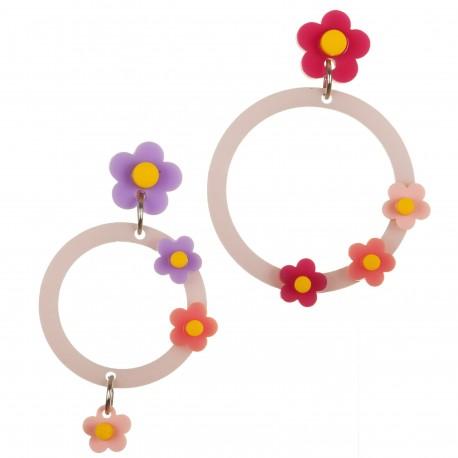 Orecchini cercio con fiori rossi e viola