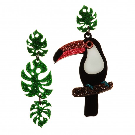 Orecchini pendenti tucano e goglia verde