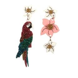 Orecchini pendenti pappagallo e rosa