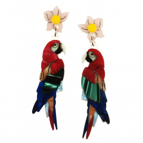 Orecchini pendenti Pappagalli rossi, verdi e blu