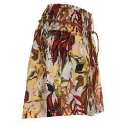 Shorts stampa foglie rosso e tabacco
