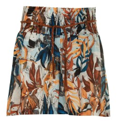 Shorts stampa foglie tabacco e blu
