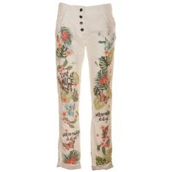 Pantaloni stropicciati bianco e rosso