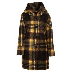 Cappotto lana cotta tartan giallo e nero