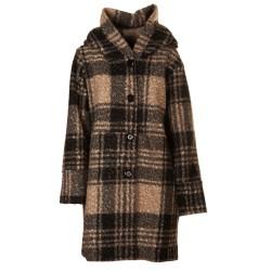 Cappotto lana cotta tartan ecru e nero