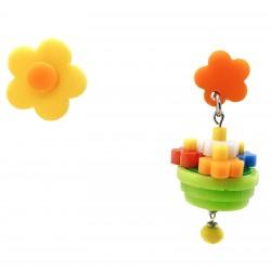 Orecchini vaso di fiori arancio e gialli