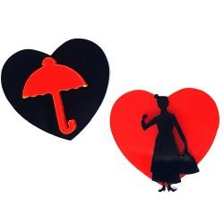 Orecchini lobo Mary Poppins rosso e nero