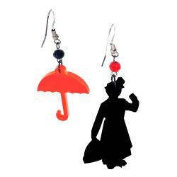 Orecchini pendenti Mary Poppins nero e rosso