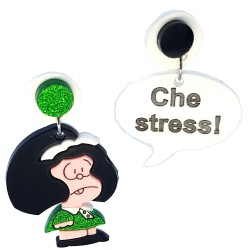 Orecchini pendenti Mafalda nero e verde