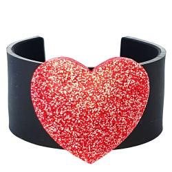 Bracciale rigido cuore rosso