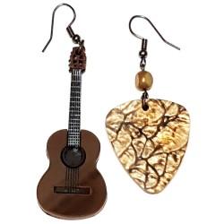 Orecchini pendenti chitarra classica plettro marm
