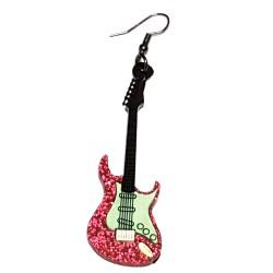 Orecchini pendenti chitarra rossa e fuxia