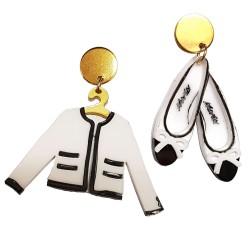 Orecchini pendenti Chanel ballerine e giacca