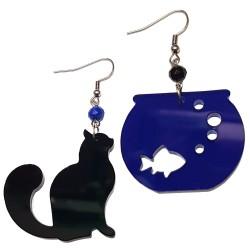 Orecchini pendenti gatto nero e bocca blu