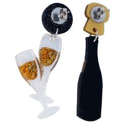 Orecchini asimmetrici Champagne