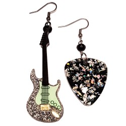 Orecchini pendenti chitarra argento