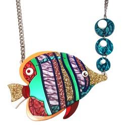 Collana Mare Pesce tropicale lilla e verde