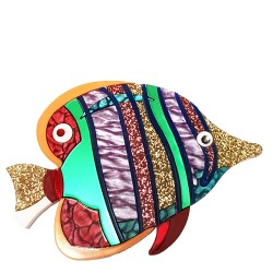 Spilla Mare Pesce tropicale lilla e verde