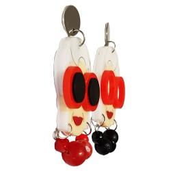 Orecchini pend. Iris Apfel nero e rosso