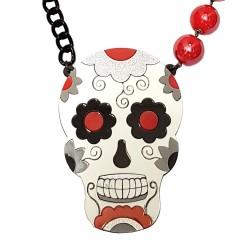 Collana Skull messicano bianco e rosso