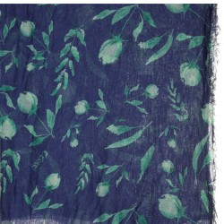 Pashmina in bambù blu con boccioli tiffany